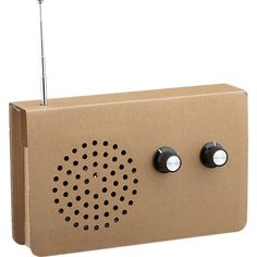 Eco-friendly radio by Christopher McNicholl goes green in recycled cardboard made from more than 25% post-consumer waste. Plays AM/FM and MP3s via real electronic internal controls, antenna and tuning knobs. At the end of its life, outer cardboard box goes right in the recycle bin.