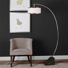 Shop for Uttermost Kelcher Nickel Arc Floor Lamp. Get free delivery On EVERYTHING* Overstock - Your Online Lamps & Lamp Shades Store! Get in rewards with Club O! Arc Lamp, Arc Floor Lamps, Cool Floor Lamps, Home Living, Living Room, Silver Floor Lamp, Best Desk Lamp, Home Modern, Contemporary Floor Lamps