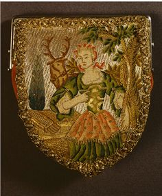 Fench 1725-1750 Embroidered pure  metal silver and gold thread on silk/linen- Victoria & Albert Museum