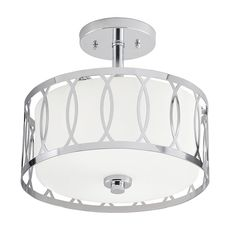 Chrome finish and modern geometric design will complement many styles. Includes an etched glass shade with white inside and a metal cage. Requires two 60-watt medium base incandescent bulbs or equivalents (not included). Detailed instructions and mounting hardware are included. Simple and elegant way to update your decor. ETL certification indicates that this fixture has met the minimum safety standards of a widely recognized testing organization. Kichler 12.25-in Chrome Modern/Contemporary…