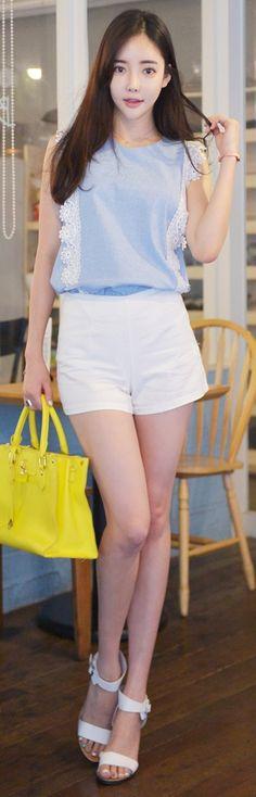 Luxe Asian Korean Women Fashion Two months Sky blue Blouse
