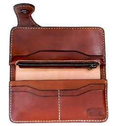 Tan leather biker wallet. $89.99, via Etsy.