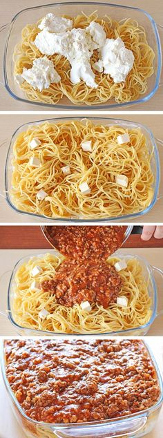 Spaghetti, spaghetti sauce, beef and cream cheese mixture meal ... that tastes like a million bucks.
