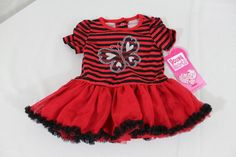c8dedb093 Young Hearts Baby Girl Tutu Dress 6-9 Months Red & Black Striped  Butterfly