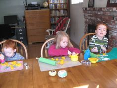 playdough at kitchen table