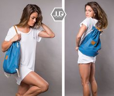 JUDtlv Multi-way backpack purse designed to be your most functional bag, work, travel, light or heavy; This trendy canvas rucksack featuring top italian drawstring closure, 1 large cabin, 2 large pockets, color-block lining and complete with an inner hidden shoulder straps for the use as Tote