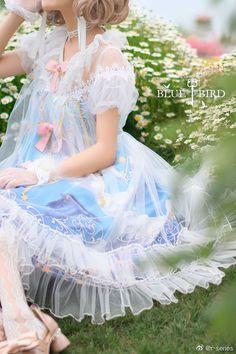 R-series -Blue Bird- Vintage Classic Lolita OP Dress Asian Cute, Gyaru, Mori Girl, Lolita Dress, Lolita Fashion, Little Princess, Blue Bird, Tulle, Flower Girl Dresses