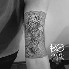 Tattoo / line & dot work / #koi #liner #sea / Chile 2014. By…