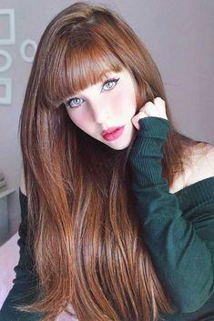 Trendy Hair Color : Pale Auburn Color ❤️ Summer hair colors 2018 will . Hair Color 2018, Hair Color Auburn, Auburn Hair, Cool Hair Color, Hair Colors, Long Hair With Bangs, Short Hair With Layers, Very Long Hair, Long Hair Cuts