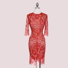 Red Romance Lace Dress!! Keep it elegant and classy with this dainty lace dress!!!  www.lookoftheday.com