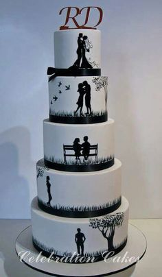 Shadow Picture Cake Bling Wedding Cakes, Wedding Cake Designs, Wedding Cake Toppers, Silhouette Wedding Cake, Silhouette Cake, Butterfly Wedding Cake, Butterfly Cakes, Pretty Cakes, Cute Cakes