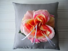 Coral Rose Ring Bearer Pillow no.2 on Etsy, $25.00