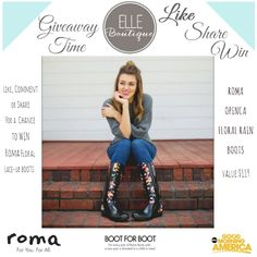 **Giveaway Time** Like, Comment, or Share For a Chance to W I N a FREE Pair of Roma Rain Boots Designed by Sadie Robertson! Drawing will be held: June 27, 2016! Start Sharing Now!! :) #share #tag #comment #like #win #giveaway #roma #rainboots #hunterboots #sadierobertson #givingpovertytheboot #giveback #sadie #robertsons #duckdynasty #giveawaytime #free #winthese #laceupboots #trendy #sharetowin
