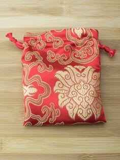 Premium Mala Bag - Red Lotus Flower Brocade
