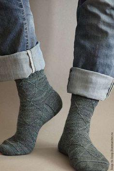 Купить Вязаные мужские носки с бамбуком - тёмно-зелёный, носки, носки ручной работы
