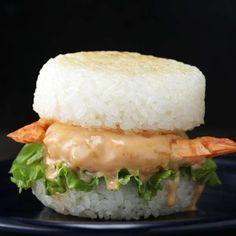 Shrimp Tempura Rice Burger Recipe by Tasty Egg Roll Recipes, Sushi Recipes, Burger Recipes, Baby Food Recipes, Asian Recipes, Cooking Recipes, Healthy Recipes, Cooking Games, Rice Burger Recipe