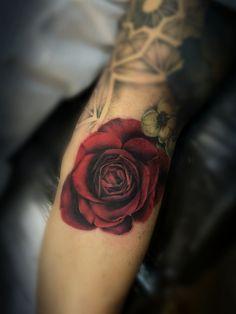 Blood Red Rose- By Meghan Ann of True Blue Professional TAttoo Studio - True Blue Professional Tattoo Studio