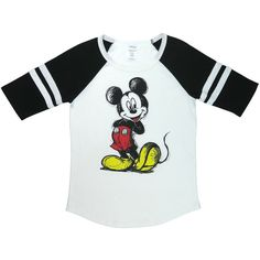 Women's Mickey Vintage Varsity RaglansScribble / (20 CAD) ❤ liked on Polyvore featuring tops, tops & tees, white, mickey mouse top, vintage tops, white embellished top, white top and embellished tops
