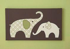 Carter's Green Elephant Canvas Wall Art