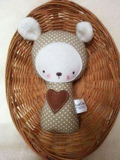 Soft Baby Rattle Bear Beige Fabric Rattle Bear Rattle by SenArt1