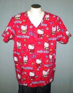 09f59326ed0 Sanrio Red XL V-Neck Scrub Top Hello Kitty Cotton #Sanrio Scrub Tops,