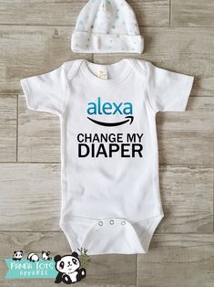 Alexa, Change My Diaper Baby – Funny Onesie – Bodysuit One-Piece – Funny Baby Infant Newborn- Clothes Outfit Organic Funny Cute, Hipster – Cricut - Baby Clothes Hipster Kind, New Born Boy, Babyshower, Funny Babies, Funny Baby Boy Onesies, Baby Girl Onesie, Baby Boy Shirts, Cute Onesies For Babies, Boy Onsies