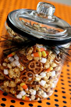 Spooky Trail Mix - pretzels, chocolate chips, peanuts, mini marshmallows, caramel corn, and candy corn