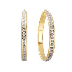 Diamond Mystique 18k Gold Over Silver Hoop Earrings, Women's, Yellow
