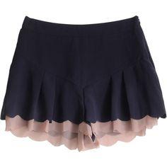 ATTI NAVY SCALLOPED SHORTS ($129) ❤ liked on Polyvore featuring shorts, navy shorts, scallop hem shorts, summer shorts, chiffon shorts and high waisted shorts