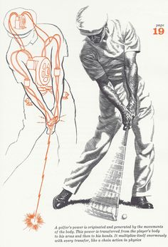 """Golfer Ben Hogan as drawn by Anthony Ravielli for Hogan's Classic 1957 Golf Manual """"Five Lessons"""""""