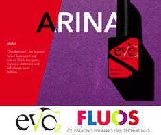 """Eén van de nieuwe kleuren van Evo by Bio Sculpture serie Fluos is Arina.  Arina is vernoemd naar de dochter van collega Anastasia uit Rusland.  Arina: """"the Beloved"""" An Autumn toned fluorescent red colour. She's energetic, makes a statement and will always be in fashion. Bio Sculpture, Red Colour, Nail Technician, Evo, Anastasia, Hair Makeup, Make Up, Autumn, Nails"""