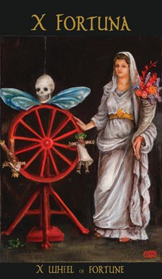 The Wheel of Fortune - Roman Tarot Wheel Of Fortune Tarot, Le Tarot, Fortune Telling Cards, Tarot Major Arcana, Angel Cards, Tarot Readers, Oracle Cards, Paganism, Tarot Decks