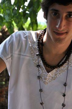 SHIVA men shirt made with hand loomed cotton printed por Yoguiniis