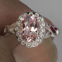 Vintage 2.65CT Oval Pink Padparadscha Sapphire Round Diamond Cut White Sapphire Accent Floral Promise Engagement Anniversary Ring Size 6.75