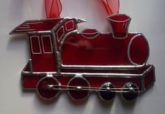 Red train sun catcher by Diomo Glass.  Idea for a decoration for Little Free Library -- Reading Railroad.
