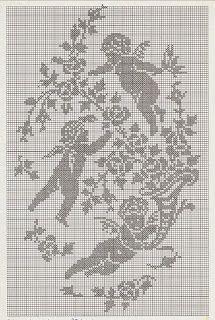 Hobby lavori femminili - ricamo - uncinetto - maglia: angeli fra i rami punto croce filet
