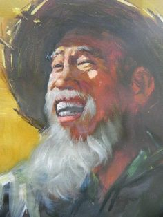 ORIGINAL OIL PAINTING PORTRAIT ART- OF AN ASIAN OLD FARMER ON CANVASE - SIGNED