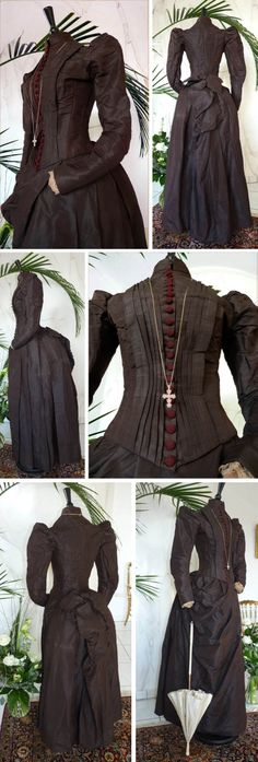 Two-piece bustle dress, ca. 1880s, handmade from brown silk. Bodice is closely laced and has high neck; long sleeves trimmed with lace.  22 crocheted brown buttons in front and back. One-piece skirt draped with hook & eyes at bottom. Antique-Gown.com