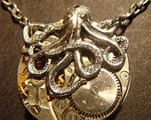 Steampunk Octopus Necklace on Vintage Watch Movement with Exposed Gears - Neo Victorian-Upcycled (555)