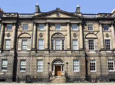 Façade of Charlotte Square in Edinburgh. Robert Adam produced a plan in 1791 of the square and it was commissioned by Edinburgh Council. The Square was built by Thomas Russell in 1796.