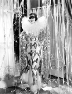 """Harlequin costume 1933 worn by Claudette Colbert in """"Tonight is Ours"""" Pierrot Costume, Pierrot Clown, Golden Age Of Hollywood, Classic Hollywood, Old Hollywood, Hollywood Gowns, Hollywood Style, Hollywood Actresses, Costume Harlequin"""