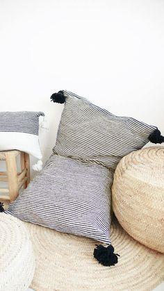 Giant Cotton Floor Cushion - Black Pompoms - Black Stripes
