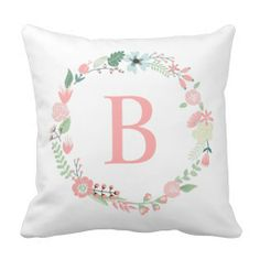 Delicate Floral Monogrammed Wreath Throw Pillow
