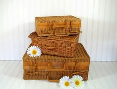 Trio of Graduated Wicker Suitcases  Vintage Hand by DivineOrders