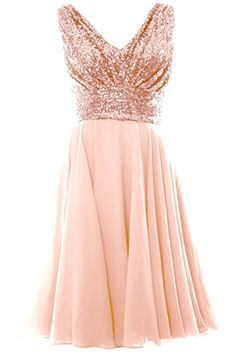 MACloth Women V Neck Sequin Chiffon Short Bridesmaid Dress Formal Evening Gown (8, Rose Gold)