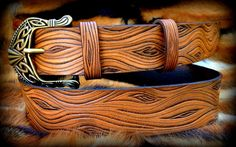 Wooden look leather belt hand tooled leather by Gemsplusleather