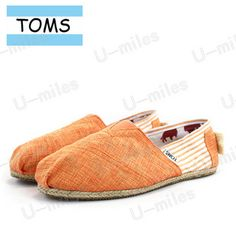 Toms Cordones Women Canvas Orange Split Joint Stripe