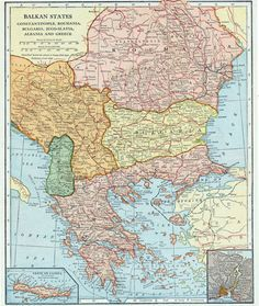 1925 Antique Map of the Balkan States by bananastrudel on Etsy
