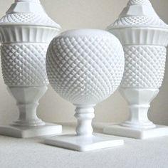 Milk glass -- unusual pieces.