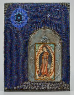 "Stars Beneath Her Feet. Mixed media on wood panel, 6"" x 8""."